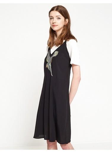 Koton Baskılı Kısa Elbise Siyah